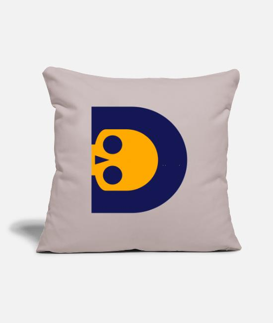"I Love Skull With Initial Alphabet D Vector Design Pillow Cases - ☠♥Awesome Skull Alphabet Initial Letter-D♥☠ - Throw Pillow Cover 18"" x 18"" light taupe"
