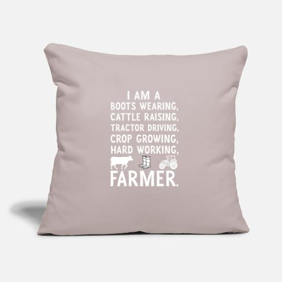 "Wife Pillow Cases - I Am A Boots Wearing, Cattle Raising Farmer - Throw Pillow Cover 18"" x 18"" light grey"