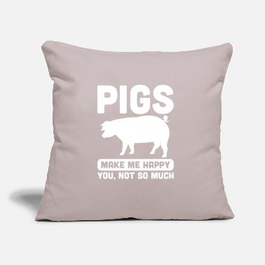 "Hog Jokes Animal Pigs Design Quote Pigs Makes Me Happy - Throw Pillow Cover 18"" x 18"""