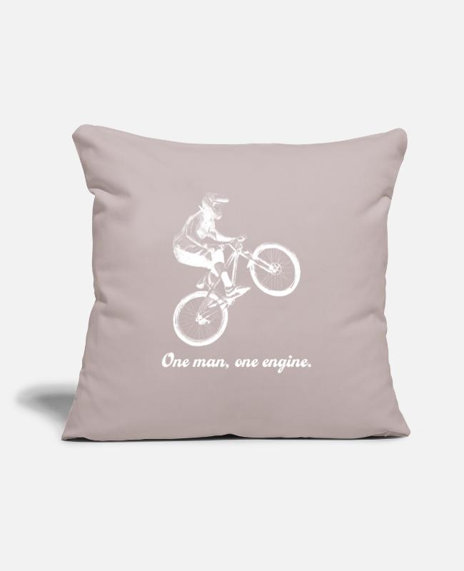 "Road Bike Pillow Cases - Bike Mountain Bike Road Bike MTB Gift Idea - Throw Pillow Cover 18"" x 18"" light taupe"