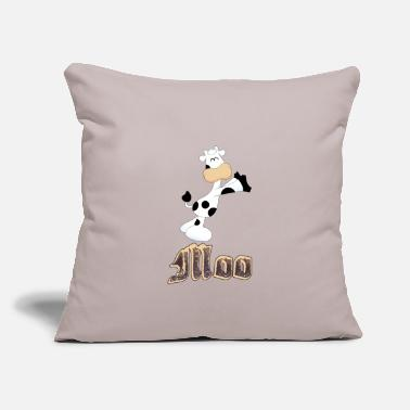 "Moo Cow with moo word - Throw Pillow Cover 18"" x 18"""