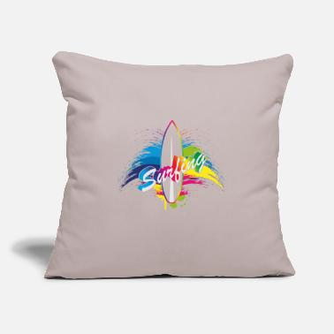 "Monster Eye Surfing rainbow surfboard splash typography - Throw Pillow Cover 18"" x 18"""