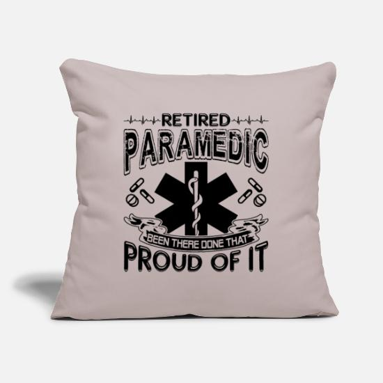 "Paramedic Pillow Cases - Proud Retired Paramedic - Throw Pillow Cover 18"" x 18"" light grey"
