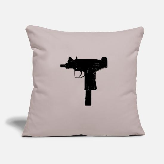 "Machine Gun Pillow Cases - micro uzi - Throw Pillow Cover 18"" x 18"" light taupe"