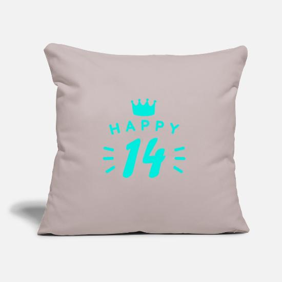 "14th Birthday Pillow Cases - 14th birthday 14 years old Happy Birthday saying - Throw Pillow Cover 18"" x 18"" light grey"