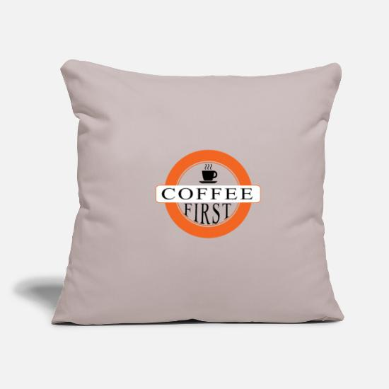 "Cappuccino Pillow Cases - Coffee first - Throw Pillow Cover 18"" x 18"" light taupe"