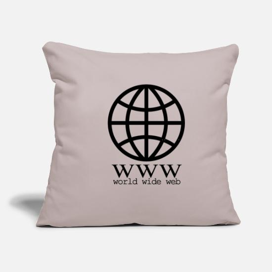"Globe Pillow Cases - internet globe - Throw Pillow Cover 18"" x 18"" light grey"