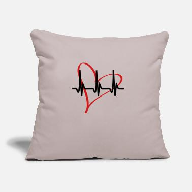 "Serce heartbeat - Throw Pillow Cover 18"" x 18"""