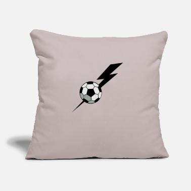 "Inflated Oval SOCCER BALL world cup with a LIGHTNING BOLT - Throw Pillow Cover 18"" x 18"""