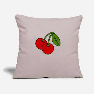 "cherries v1_3_color - Throw Pillow Cover 18"" x 18"""