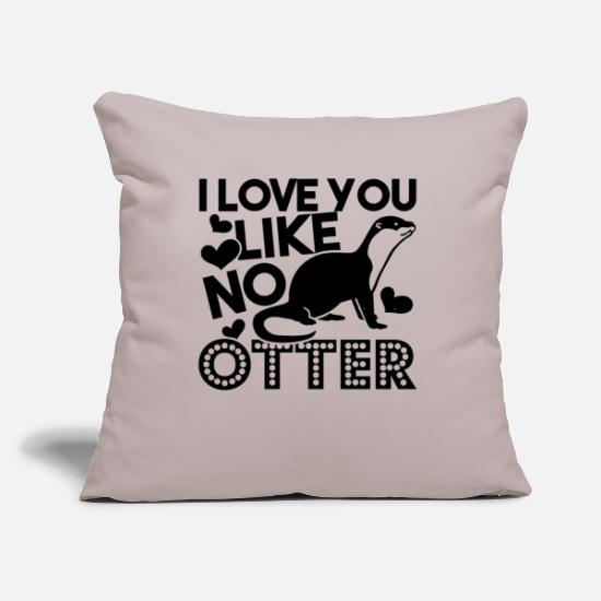 "Animal Pillow Cases - Otter - Throw Pillow Cover 18"" x 18"" light grey"