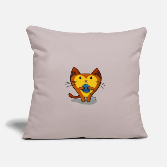 "Wool Pillow Cases - Cat with ball of wool - Throw Pillow Cover 18"" x 18"" light taupe"