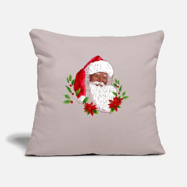 "Christmas Santa Claus and Poinsettias - Throw Pillow Cover 18"" x 18"""