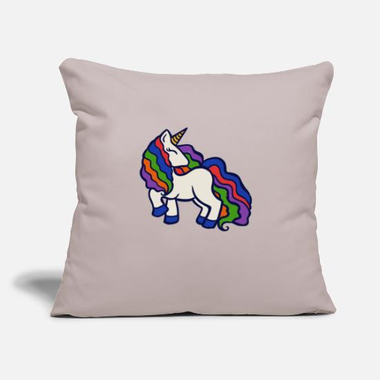 "Magic Pillow Cases - Rainbow Unicorn - Throw Pillow Cover 18"" x 18"" light grey"