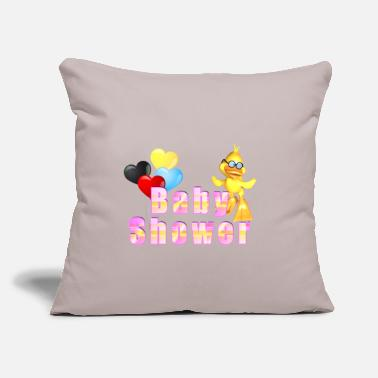 "Baby Shower Baby Shower Baby Shower Duck with balloons - Throw Pillow Cover 18"" x 18"""