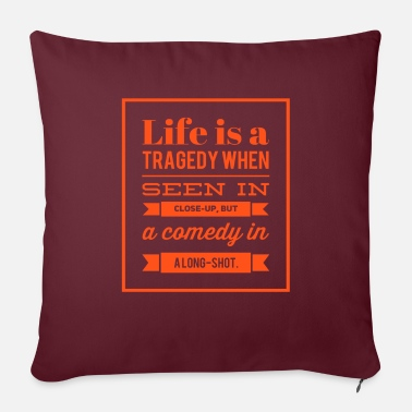 "Wisdom Life is a comedy - /positivice.com/ - Throw Pillow Cover 18"" x 18"""