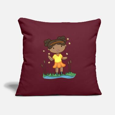 "Pond Girl By The Pond - Throw Pillow Cover 18"" x 18"""