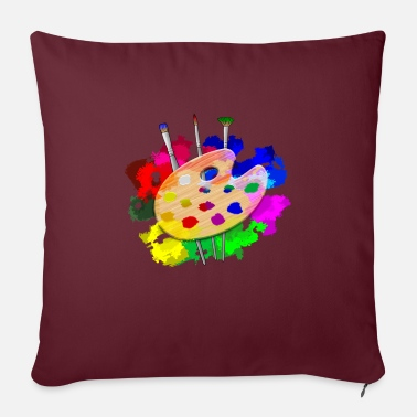 "Splatter Artist Palette Artist - Throw Pillow Cover 18"" x 18"""