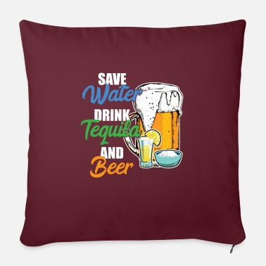 "Uncle Save Water Drink Tequila And Beer Cool Funny Gift - Throw Pillow Cover 18"" x 18"""