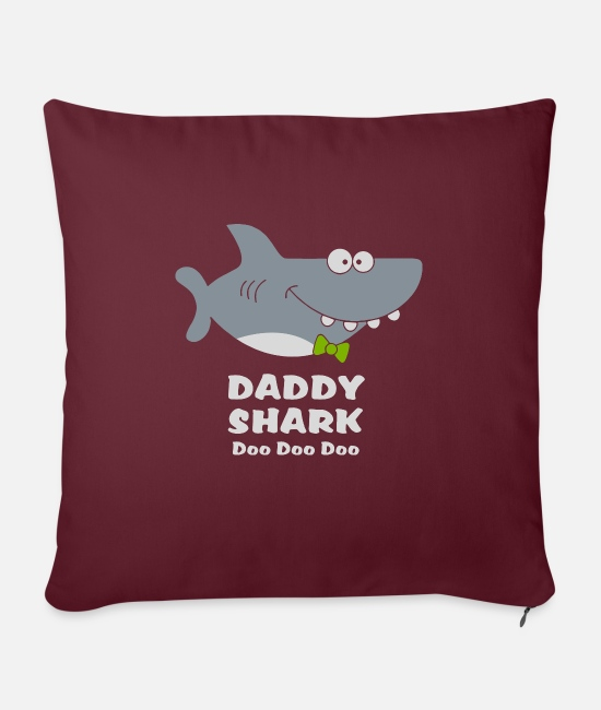 "Father's Day Pillow Cases - Daddy shark doo doo doo father s day men s shark - Throw Pillow Cover 18"" x 18"" burgundy"