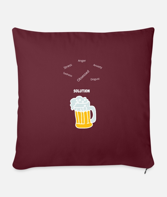 "Anger Pillow Cases - Solution - Throw Pillow Cover 18"" x 18"" burgundy"