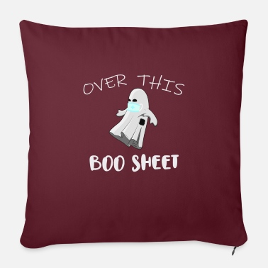 "Over This Boo Sheet 2020 Funny Ghost Halloween - Throw Pillow Cover 18"" x 18"""