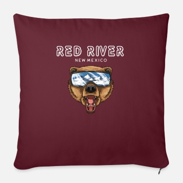 "Red River New Mexico - Grizzly Ski Gift - Throw Pillow Cover 18"" x 18"""