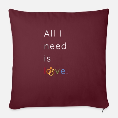 "Rainbow Flag All I need is love and peace | LGBTQI+ | ALLY - Throw Pillow Cover 18"" x 18"""