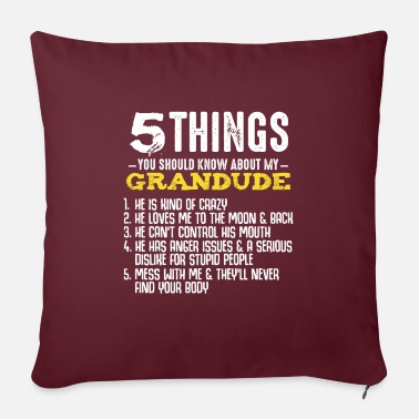 "Open 5 Things Grandpa Grandude Great Granddad Grandpa - Throw Pillow Cover 18"" x 18"""