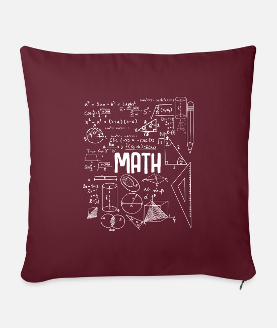 "Studies Pillow Cases - Funny Math Calculation Equation Student Teacher - Throw Pillow Cover 18"" x 18"" burgundy"