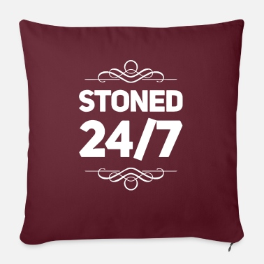 "Smoker Stoned 24 7 3 - Throw Pillow Cover 18"" x 18"""
