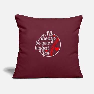 "Frame I'll always be their biggest fan baseball - Throw Pillow Cover 18"" x 18"""