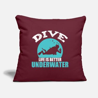 "Under Water diving under water - Throw Pillow Cover 18"" x 18"""