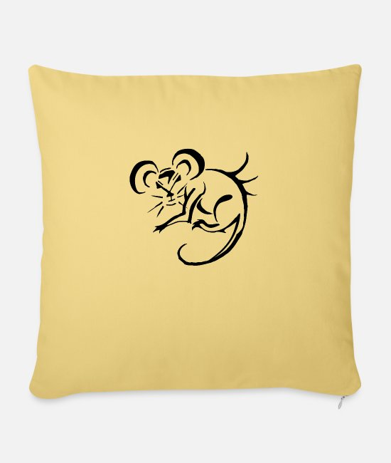 "Mouse Pillow Cases - Mouse Attitude - Throw Pillow Cover 18"" x 18"" washed yellow"