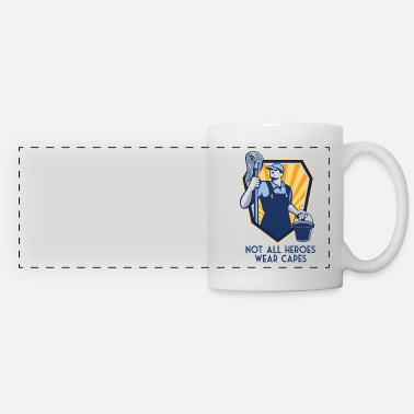 Janitor Funny Janitor Custodian Gift Not All Heroes Wear - Panoramic Mug