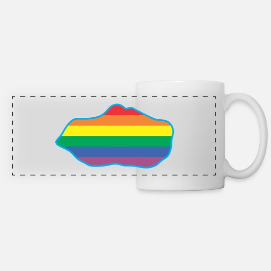Gay Pride Mugs & Drinkware - RAINBOW - Panoramic Mug white