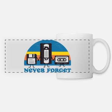 90s Never Forget Floppy Disk, VHS and Casette Tape - Panoramic Mug