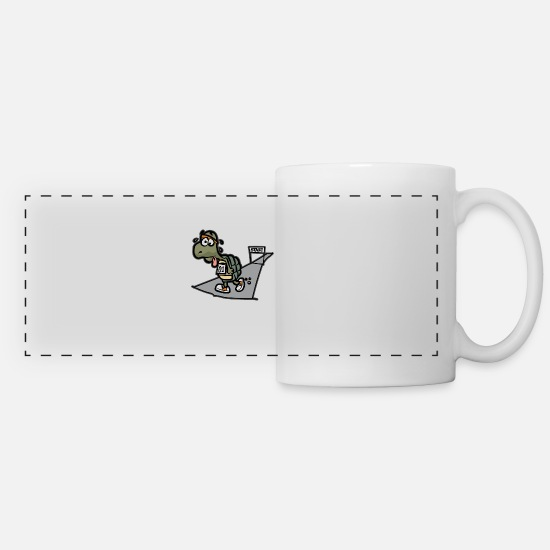 Turtle Mugs & Drinkware - TIRED TURTLE Marathon Half-Marathon funny Runner - Panoramic Mug white