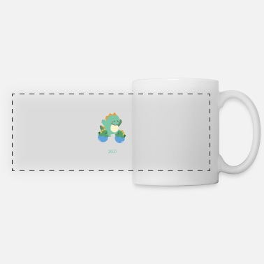 Dinosaur Obsession Big Brother of Twins 2021 Dinosaur Twin - Panoramic Mug