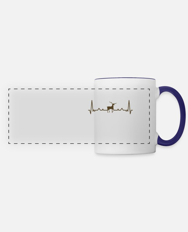 Heart Mugs & Cups - Deer With Heart Rate - Panoramic Mug white/cobalt blue