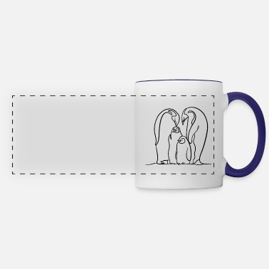 Penguin Family with two kids in black - Panoramic Mug