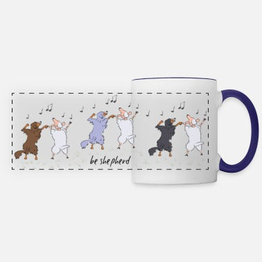 Australian Sheep Dog Australian Shepherd dancing with sheep - Panoramic Mug