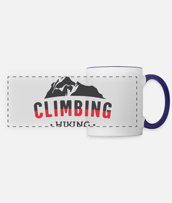 Sport Climbing Mugs & Cups - CLIMBING/HIKING - Panoramic Mug white/cobalt blue