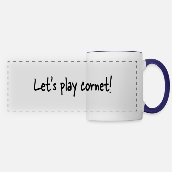 Brass Band Mugs & Drinkware - Let's play cornet - Panoramic Mug white/cobalt blue