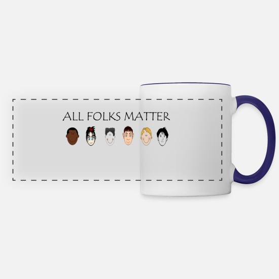 All Lives Matter Mugs & Drinkware - All Folks Matter1 - Panoramic Mug white/cobalt blue