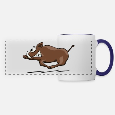 Boar wild boar running at full speed through forest - Panoramic Mug