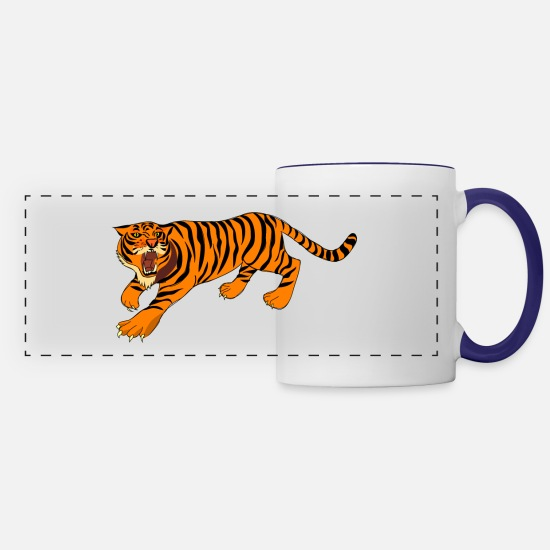 Saber Mugs & Drinkware - bengal tiger cat head sabre toothed98 - Panoramic Mug white/cobalt blue