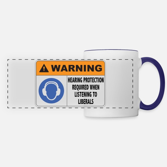 Liberal Mugs & Drinkware - Hearing Protection Liberals - Panoramic Mug white/cobalt blue