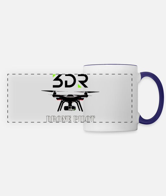 Pilot Mugs & Cups - 3DR DRONE PILOT - Panoramic Mug white/cobalt blue