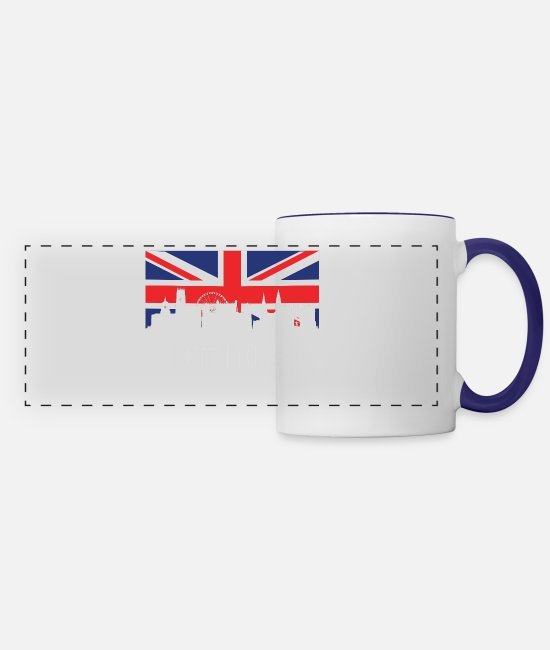 Nottingham Mugs & Cups - British Flag Nottingham Skyline - Panoramic Mug white/cobalt blue